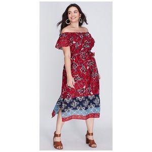 Lane Bryant   Off Shoulder Floral Midi Dress